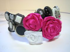 Flower Girl Wedding Headband  Black White and Fuschia by handartdesignstudios, $25.00