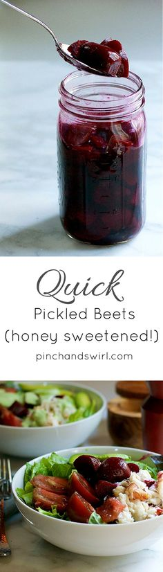 Easy Pickled Beets - just beets, apple cider vinegar, water, honey, salt and pepper! Such a delicious way to top all of your salads this summer! #easyrecipe #beets
