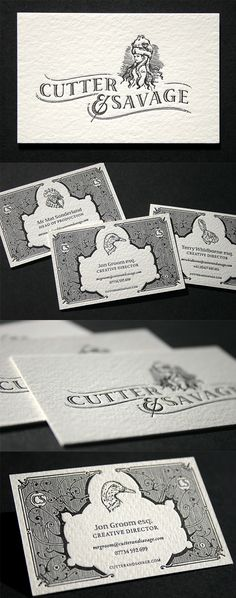 Beautiful Vintage Style Letterpress Black And White Business Card Design
