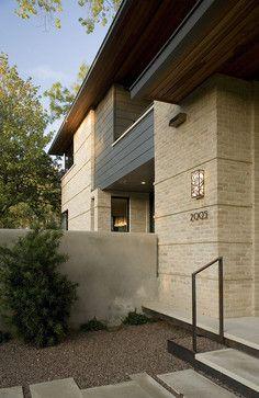 Exterior brick facade Design Ideas, Pictures, Remodel and Decor House Paint Exterior, Exterior House Colors, Exterior Design, Gray Exterior, Building Exterior, Facade Design, Building Design, Porches, Yellow Brick Houses