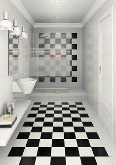 Baño con fuerte presencia del damero, en el piso y en la pared. En ambos casos, con un borde de azulejos blancos, que hace las veces de marco.