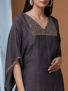 Grey Embroidered Chanderi Suit - Set of 3 Neck Designs For Suits, Sleeves Designs For Dresses, Dress Neck Designs, Sleeve Designs, Blouse Designs, Salwar Designs, Kurta Designs Women, Kurti Designs Party Wear, Stylish Dress Designs
