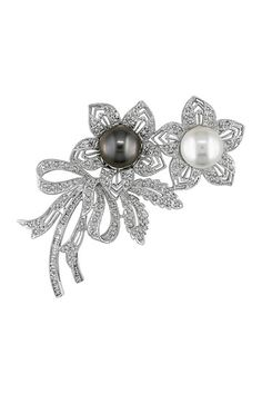 18K White Gold 10-12mm Tahitian & South Sea Pearl & Pave Diamond Bouquet Brooch