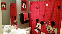 Minnie Mouse Bathroom Decor Unique Finished Mickey and Minnie Bathroom for My Daughter and son It S Hard Finding Bath Decor for Childrens Bathroom, Bathroom Kids, Diy Bathroom Decor, Bath Decor, Bathroom Images, Kids Bath, Mickey E Minie, Minnie Mouse, Boy Girl Bathrooms