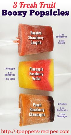 3 Fresh Fruit Boozy Popsicles from 3Peppers-recipes.com #alcohol #popsicles #booze