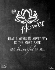 The flower that blooms in adversity is the most rare and beautiful of all. ~Mulan