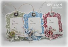 Christmas gift tags - I'd like to try this with the SU Topnote and Snowflake dies