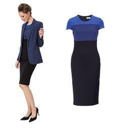 Mit diesem feinen Jerseykleid treffen Sie den Nerv der Zeit! Das anschmiegsame Kleid aus italienischem Heavy Jersey mit Color Blocking in verschiedenen Blau-Nuancen liegt absolut im Trend. Gesehen bei Elégance Paris.
