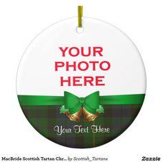 MacBride Scottish Tartan Christmas Photo Double-Sided Ceramic Round Christmas Ornament