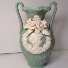 FOR SALE! BEAUTIFUL VINTAGE SMALL VASE GREEN WHITE CAMEO FLOWERS 6×3.5 HOME DECOR KITCHEN DINING http://stores.ebay.com/tovascollectibles