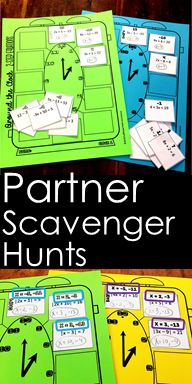 Partner scavenger activities are a fun way for students to collaborate on their math while getting the hands-on practice they need. Partners work together on their unique math problems that yield the same answers. If one student gets stuck, the other can Teaching 6th Grade, 7th Grade Math, Teaching Math, Teaching Ideas, College Activities, Algebra Activities, Numeracy, 8th Grade Math Problems, Math Classroom