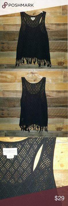 🌟JUST IN🌟DENIM & SUPPLY CROCHET TANK DENIM & SUPPLY RALPH LAUREN EXCELLENT CONDITION CROCHET TANK FRINGE BOTTOM WAIST LENGTH SEMI LOOSE COLOR BLACK SIZE MEDIUM 100% COTTON USE AS TANK TOP OR COVER UP TOP OVER SWIMWEAR FUN ,GREAT QUALITY, TRENDY, STYLISH! *NO TRADES NO RETURNS NO MODELING* Denim & Supply Ralph Lauren Tops Tank Tops