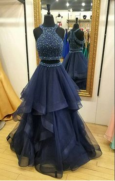 Navy Color Two Pieces Prom Dress, Prom Dresses For Teens,Graduation Party Dresses - Šaty - Navy Blue Prom Dresses, Prom Dresses For Teens, Cute Prom Dresses, Homecoming Dresses, Maxi Dresses, Party Dresses, Awesome Dresses, Elegant Dresses, Long Dresses