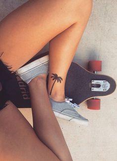 Ankle Tattoos for Women - Anklet Tat Ideas - Palm Tree - MyBodiArt.com