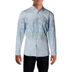 INC Mens Nolan Blue Printed Long Sleeves Woven Button-Down Shirt L Retail Price $75.00