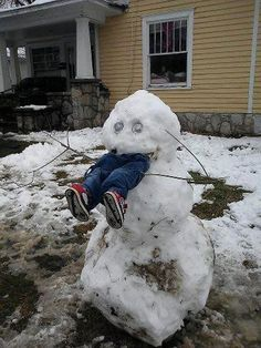 snowman with legs in mouth | Funny picture #3817 tags: snowman (23) eating (52) kid (245) legs (22 ...