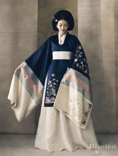 The idea is to have her Western clothes show through the South Korea hanbok to reflect how she will not be subdued Korean Traditional Dress, Traditional Fashion, Traditional Dresses, Traditional Wedding, Korean Dress, Korean Outfits, Oriental Fashion, Asian Fashion, Mode Kimono