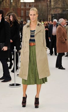 Poppy looking chic in Burberry mac