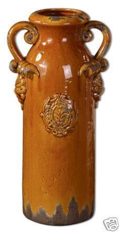 Old World Tuscan Distressed GOLDEN CRACKLE VASE Urn