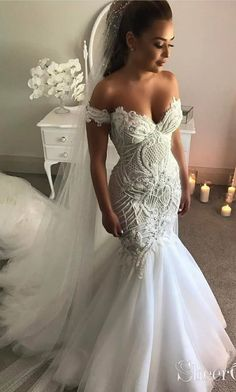Vintage Off the Shoulder Mermaid Wedding Dress with Appliques, Tulle Bridal Dresses Long Sleeve Lace Mermaid Wedding Dresses Western Wedding Dresses, Modest Wedding Dresses, Wedding Attire, Bridal Dresses, Wedding Gowns, Tulle Wedding, Casual Wedding, Summer Wedding, Wedding Outfits