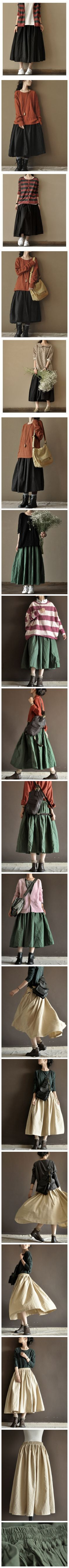 Four Colours Linen Skirt Big Hem Women Dress Sun Skirt by Fantasylinen