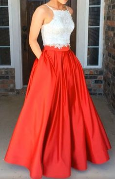 Spaghetti Straps Long Red Prom Dresses,Lace Prom Gowns,Pretty