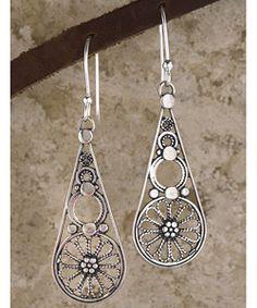 Sterling Silver Filigree Drop Earrings (Israel)   Overstock.com Shopping - Great Deals on Earrings