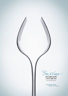 applied line from the forks creates an image of a wine glass. This a great and creative way to advertise food without having a picture of it.
