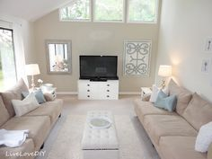 """Painting Trim & Walls: what you need to know! """"Our Living Room was painted with Glidden Smooth Stone (main color) and then Behr Sandstone Cliff (accent wall), both in flat. Living Pequeños, Home Living Room, Small Living, Room Paint Colors, Paint Colors For Living Room, Wall Colors, Stone Interior, Interior Walls, Beige And White Living Room"""