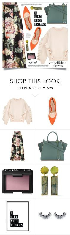 """Make a Statement: Embellished Sleeves"" by marina-volaric ❤ liked on Polyvore featuring STELLA McCARTNEY, Gianvito Rossi, Miss Selfridge, Fendi, NARS Cosmetics, Bounkit and embellishedsleeves"