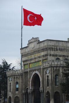 Turkish Flag over Istanbul University
