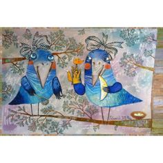 The funny crows Postcard by Anna Silivonchik