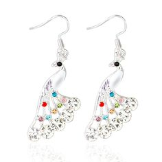 Silver Plated Peacock Multi-Color Crystal Rhinestone Earrings //Price: $10.78 & FREE Shipping //     #christmasearrings