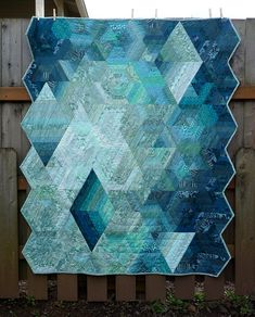 blue diamond strip quilt