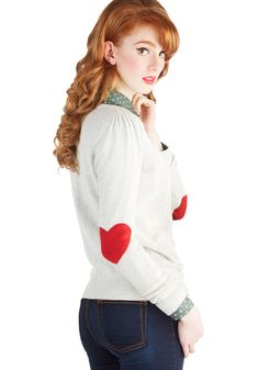 We're Young at Heart Sweater. Love is either in your life, on its way, or in the shape of a red felt heart on the elbows of your cotton, knit sweater! #grey #modcloth