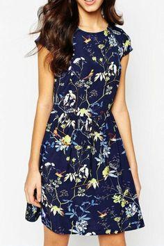 Floral Print Short Sleeves Dress | victoriaswing