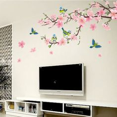 Dongpai Big Pink Cherry Blossom Tree Blue Birds Romantic Flowers Removable Mural Wall Stickers Home Bedroom Wallpaper Decal -- To view further for this item, visit the image link. Poster Wall Art, Wall Decor Stickers, Wall Murals, Mural, Wall Sticker, Bedroom Decor, Home Decor, Pink Cherry Blossom Tree, Kids Room Art