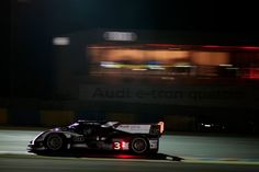 Marc Gene piloting the #3 Audi Sport R18 Ultra into the Night at #Lemans