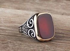 Sterling Silver Gemstone Man Ring With Agate Stone (All Sizes) Mens Ring Mens Jewellery Mens Ring Models Mens Silver Necklace, Silver Jewelry, Silver Rings, Black Rings, Sterling Silver Mens Rings, Ruby Rings, Men's Jewelry Rings, Pandora Jewelry, Mens Gemstone Rings