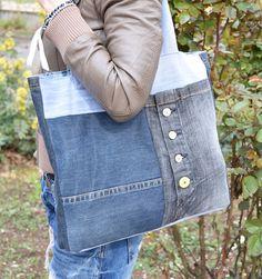 Very big denim handbag Recycled denim tote Pachwork tote