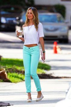 Candice Swanepoel mint denim jeans