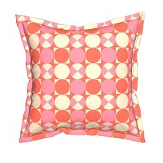 Lottie Dottie Geometric Circles in Coral and Pink - Premium Pillow with Flange Edge and Insert, Throw Pillows Unique Toss Pillow Bold Decor