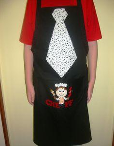 Avental em tecido com patchcolagem nos tamanhos P, M e G