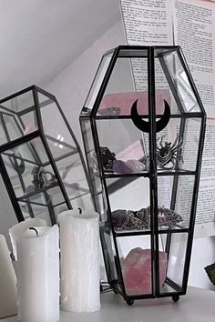 Goth Home Decor, Diy Home Decor, Room Decor, Glass Boxes, Glass Containers, Double Glass, Gothic House, Display Case, Black Glass