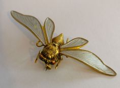 Art Deco enameled moth brooch