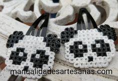 #Horquillas #osos #panda de #perlas #hama mini   #HOWTO #DIY #artesanía #manualidades #reciclaje