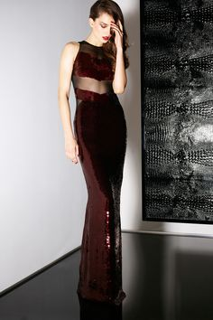 Love this dress!! The rich maroon color, the sheer midrift, the paillettes