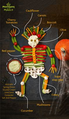 The kids will love this skeletal plate with dip this Halloween . bone appetite :] For Halloween Baking, Healthy Halloween, Halloween Crafts For Kids, Halloween Food For Party, Halloween Treats, Halloween Recipe, Happy Halloween, Halloween Decorations, Sugar Snap Peas