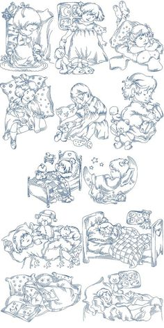 Sweet Sleeping Girls | Machine Embroidery Designs By Sew Swell
