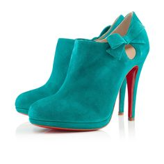 1229  Christian Louboutin Belnodo Suede Boots ~ I love these booties. A whole lot. I love turquoise and red together.